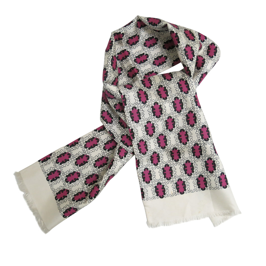 Men's Dress Scarf – Vintage Silk, White with Magenta and Black - shopcurious