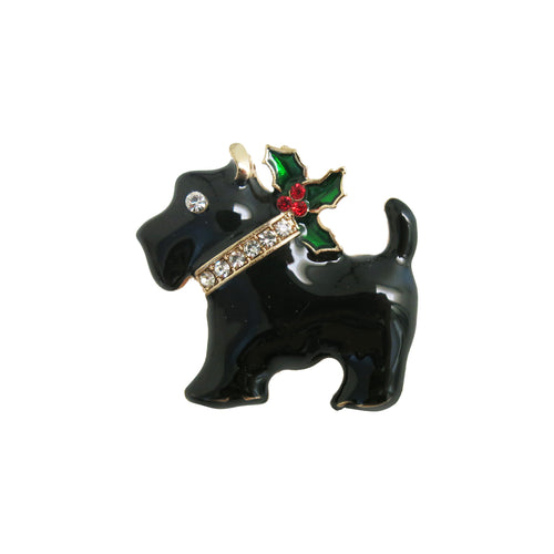 Holly Dog Brooch - shopcurious