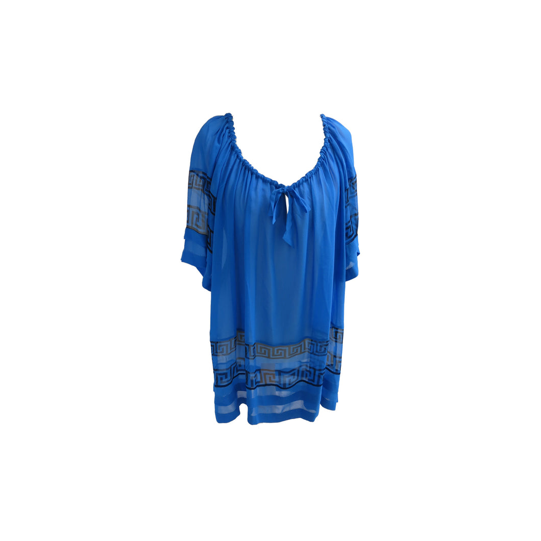 Temperley Cobalt Blue Classical Print Sheer Silk Beach Cover-Up/Top - shopcurious