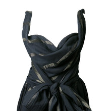 Load image into Gallery viewer, Pre-loved Vivienne Westwood Anglomania Black Belted Metallic Stripe Dress - shopcurious