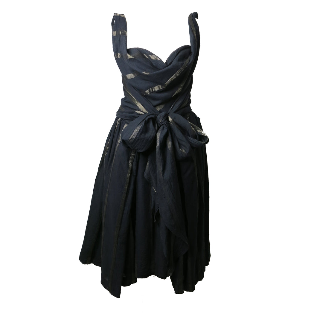 Pre-loved Vivienne Westwood Anglomania Black Belted Metallic Stripe Dress - shopcurious