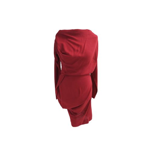 Vivienne Westwood Anglomania Russet Red Asymmetric Fond Dress - shopcurious