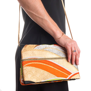Waves: Upcycled Obi Envelope Clutch/Shoulder Bag - shopcurious