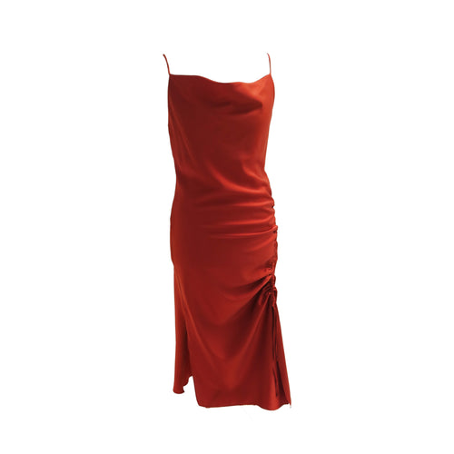 Zara Rust Red Bias Cut Satin Side-Ruched Slip Dress - shopcurious