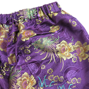 Purple Brocade Flared Trousers with Elasticated Waist - shopcurious