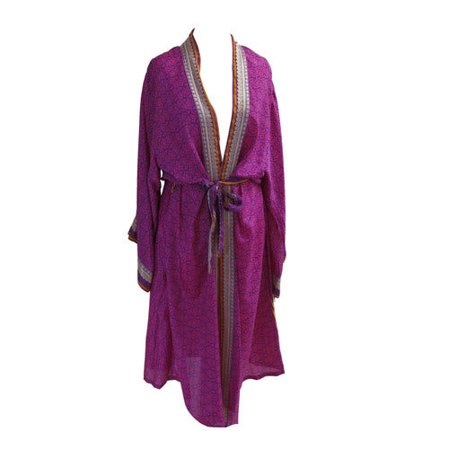 Recycled Sari Fabric Kimono Jacket/Dressing Gown - shopcurious