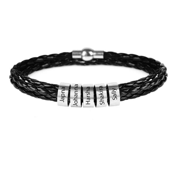 Stainless Steel Leather Braided Bracelet