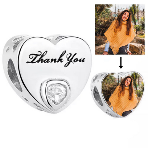 Thank You Photo Heart Charm