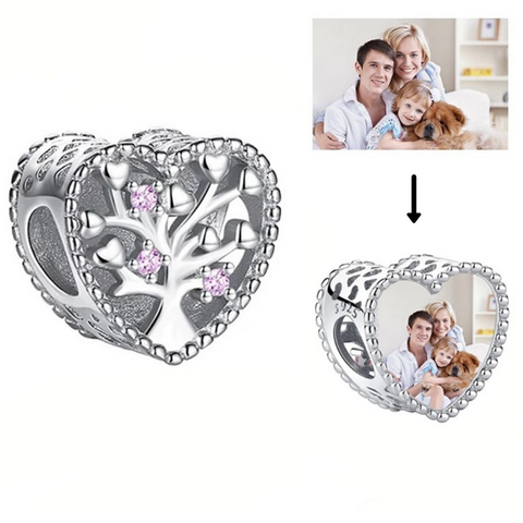 Family Tree Heart Photo Charm