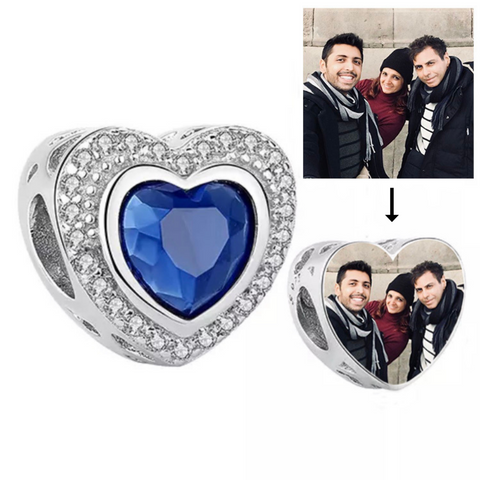 Sparkling Blue Photo Heart Charm
