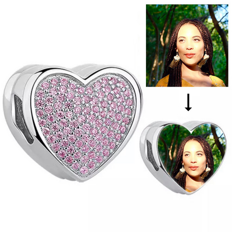 Pink Crystal Photo Heart Charm