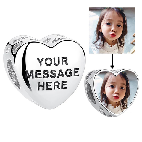 Engravable Silver Heart Photo Charm