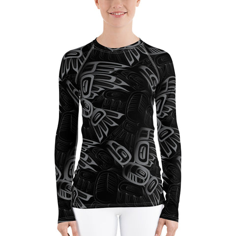 Women's Eagle Raven Tessellation Long Sleeve Athletic Top  (Rash Guard)