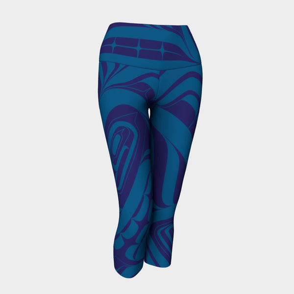 Blue Killer Whale Capri Leggings
