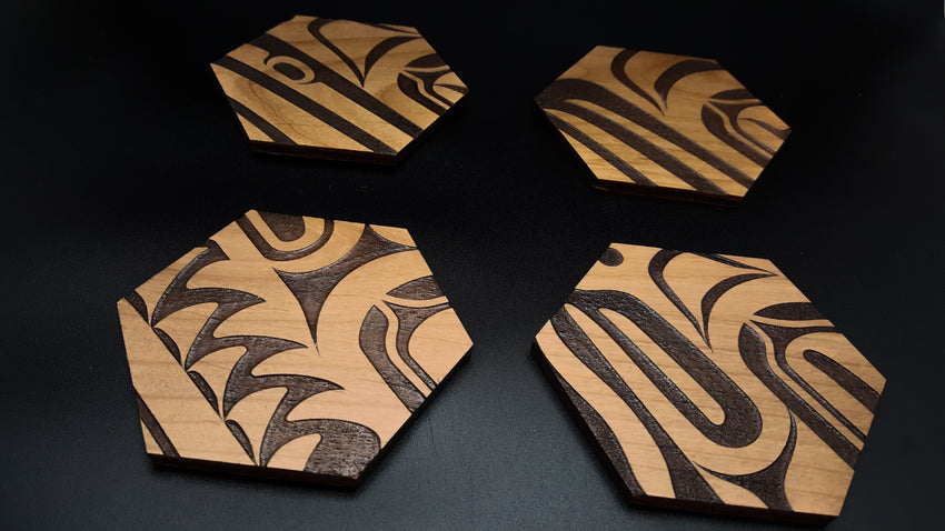 Laser-cut Wood Coasters  (Singles)