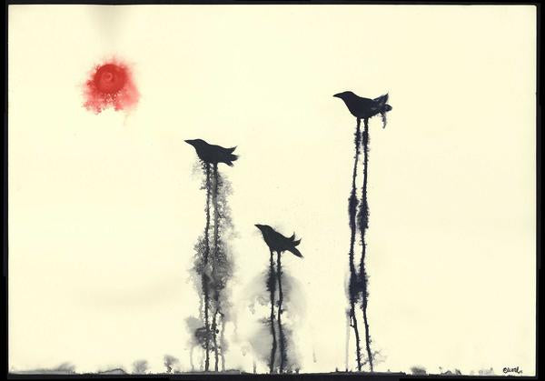 Ravens Looking at the Sun - Giclée Print - 22.5