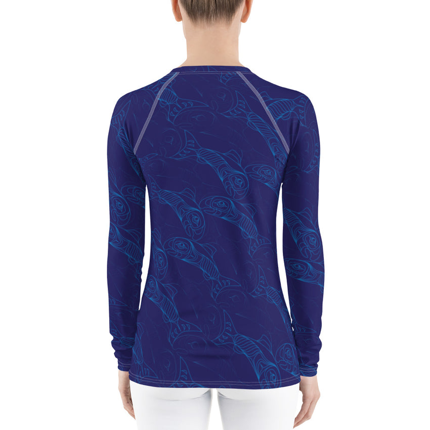Women's Salmon Tessellation Long Sleeve Top