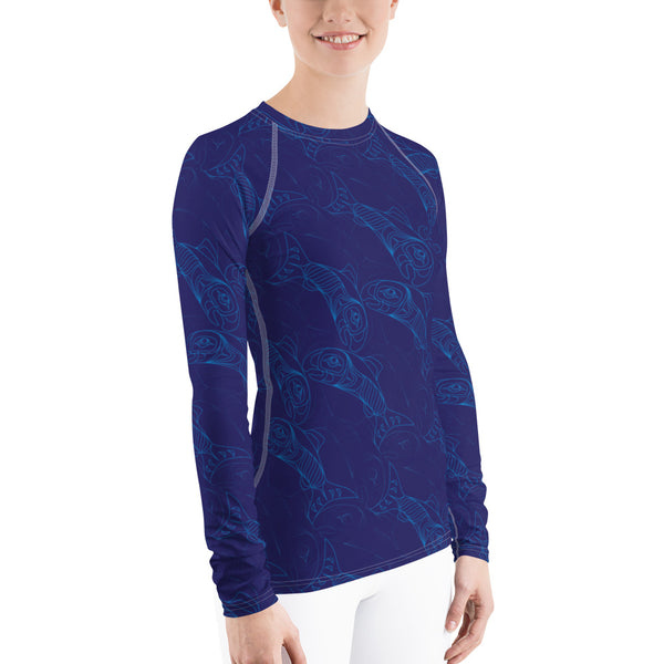 Women's Salmon Tessellation Long Sleeve Athletic Top (Rash Guard)