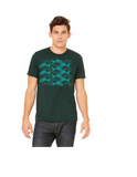 Salmon Tessellation Tee (Blue on Emerald)