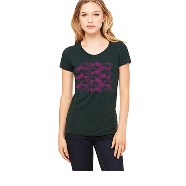 Women's Salmon Tessellation  Tee (Purple on Emerald)