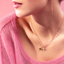 Cross Charm Classic Gigi Pink necklace, Yellow Gold, 16.5""
