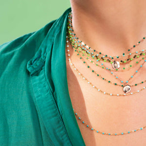 Gigi Clozeau - Miss Gigi Emerald diamond necklace, Rose Gold, 16.5""