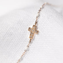 Gigi Clozeau - Cross Charm Classic Gigi White diamond bracelet, Rose Gold, 6.7""