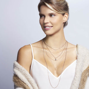 Gigi Clozeau - Classic Gigi Quartz Necklace, Rose Gold, 17.7""
