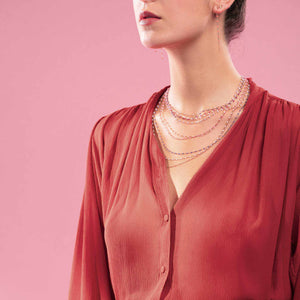Gigi Clozeau - Classic Gigi Pink necklace, Rose Gold, 16.5""