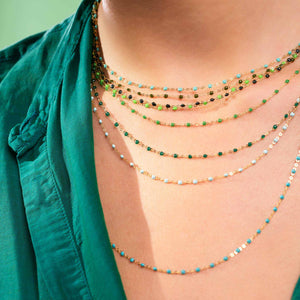 Gigi Clozeau - Classic Gigi Emerald necklace, Yellow Gold, 17.7""