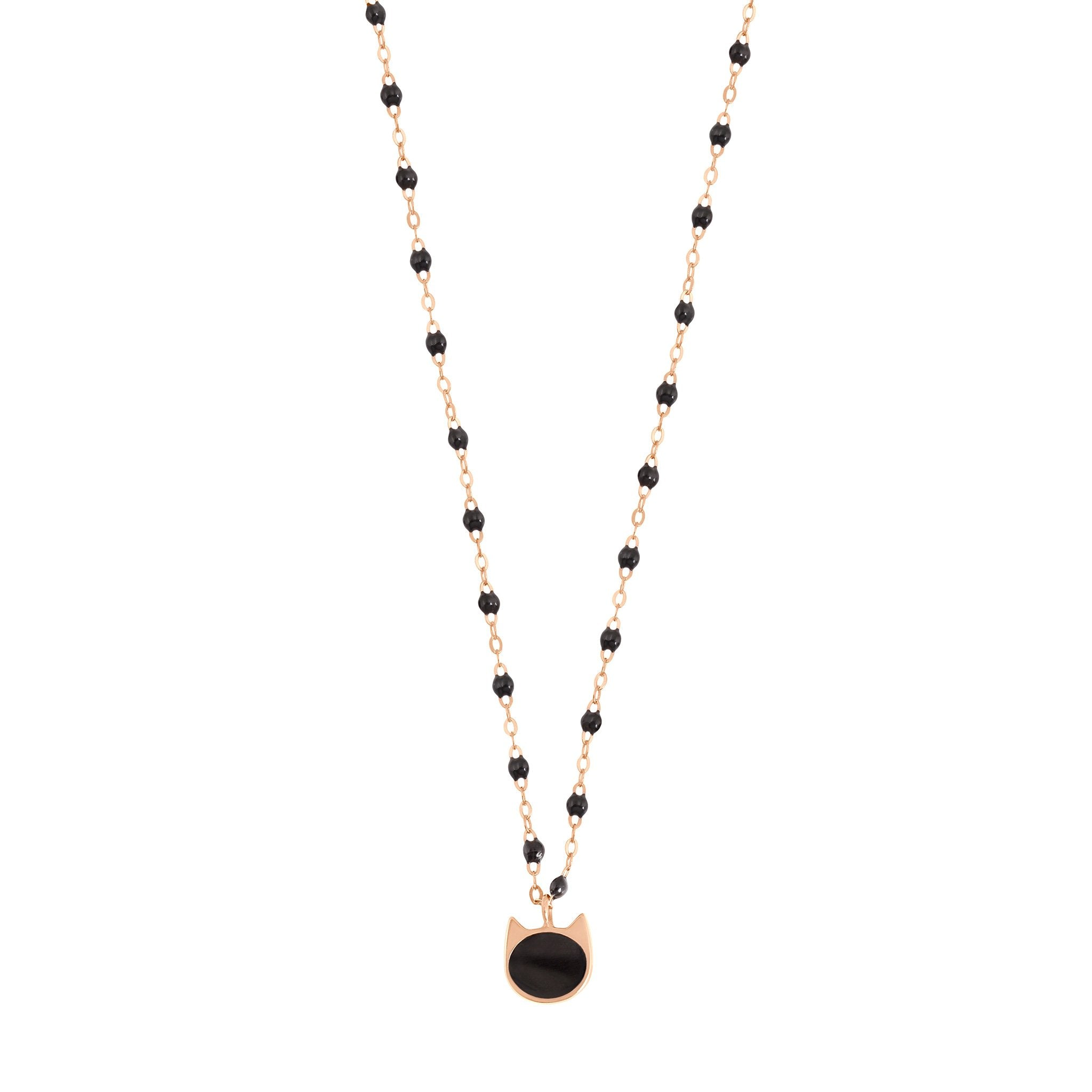 Gigi Clozeau - Cat Classic Gigi Black necklace, Rose Gold, 16.5""