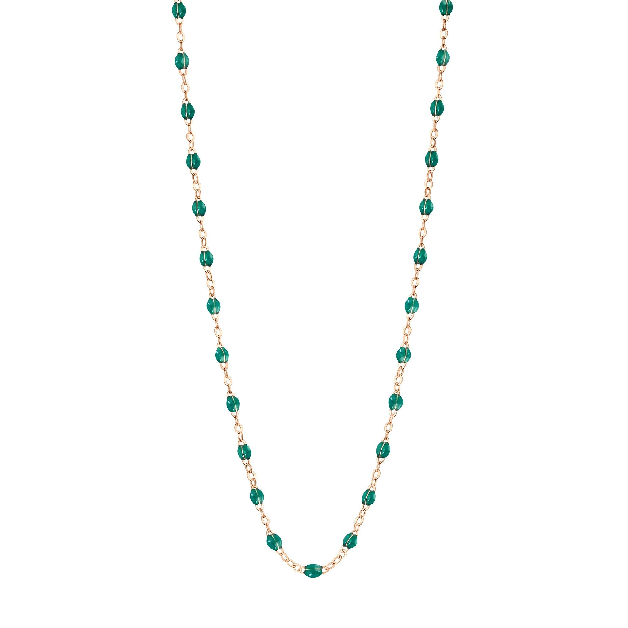 Gigi Clozeau - Classic Gigi Emerald necklace, Rose Gold, 19.7""
