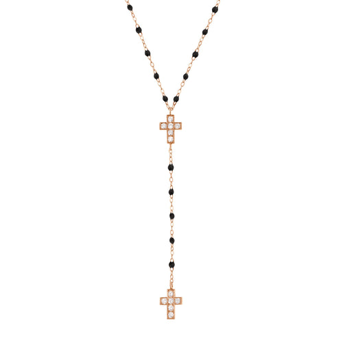 Gigi Clozeau - Cross Charm Classic Gigi Black diamonds rosary, Rose Gold, 16.5