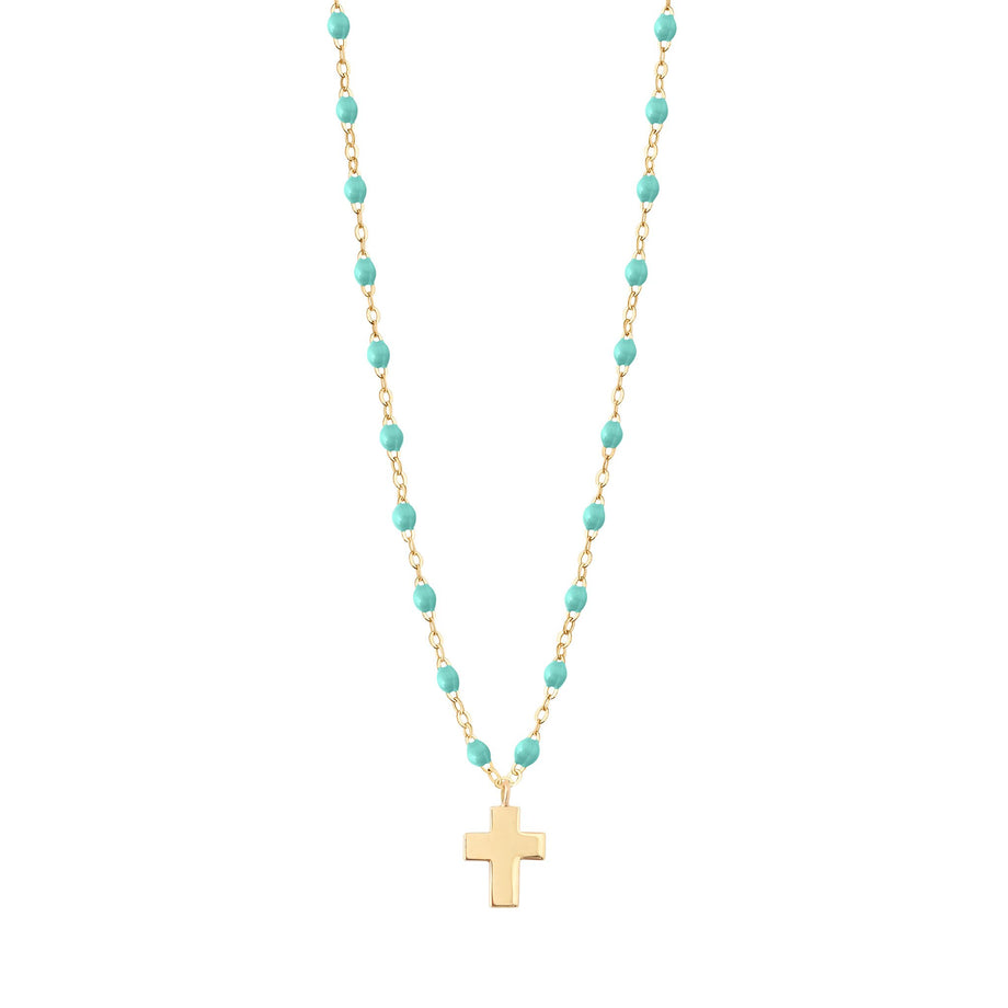 Gigi Clozeau - Cross Charm Classic Gigi Lagoon necklace, Yellow Gold, 16.5