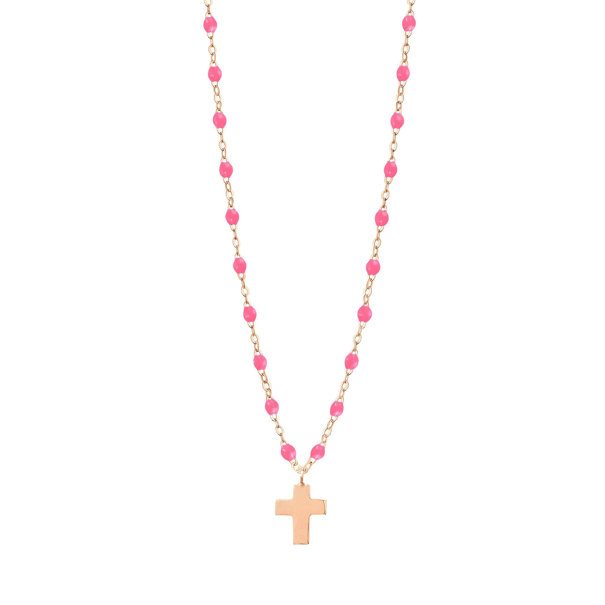 Gigi Clozeau - Cross Charm Classic Gigi Pink necklace, Rose Gold, 16.5
