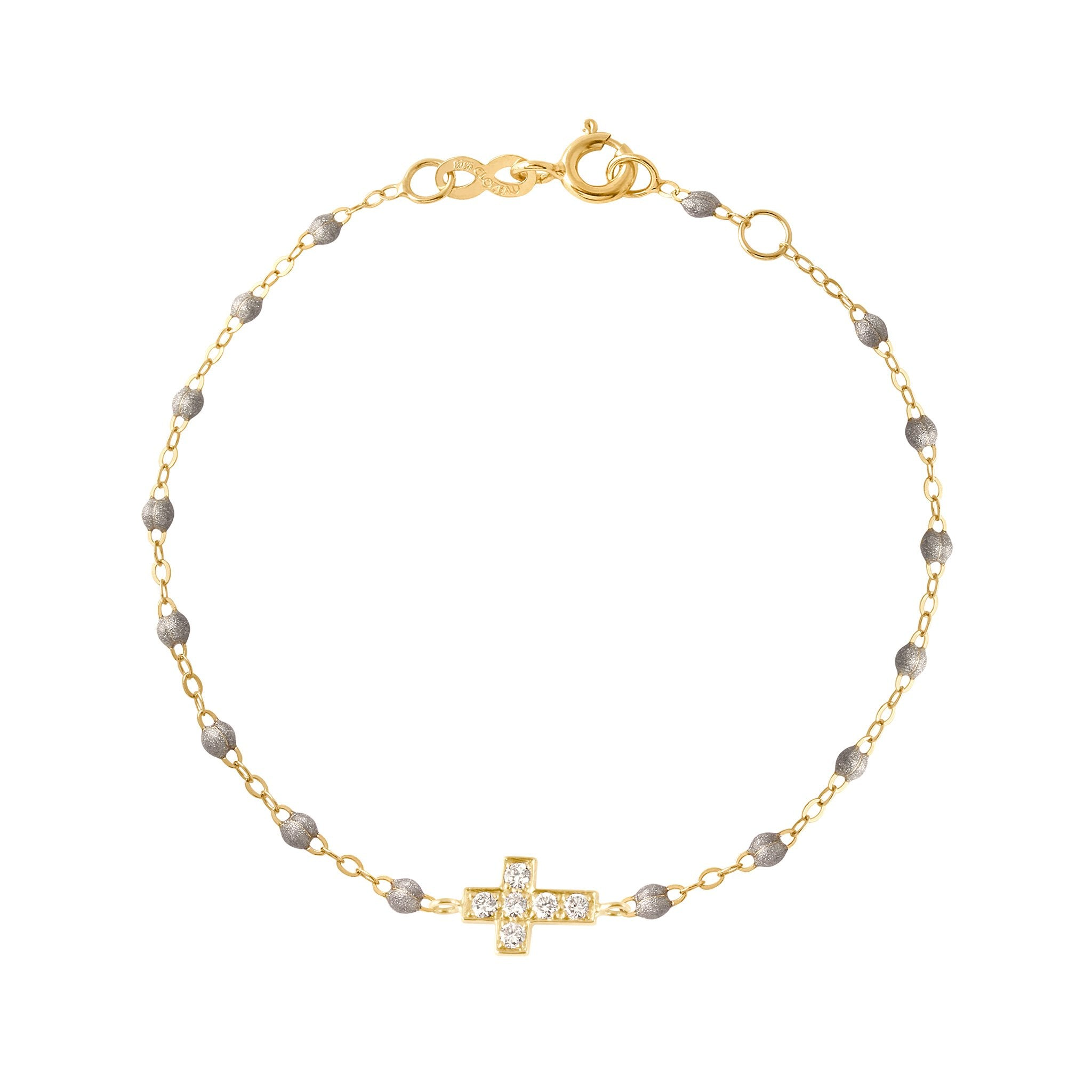 Gigi Clozeau - Cross Charm Classic Gigi Silver diamonds bracelet, Yellow Gold, 6.7""
