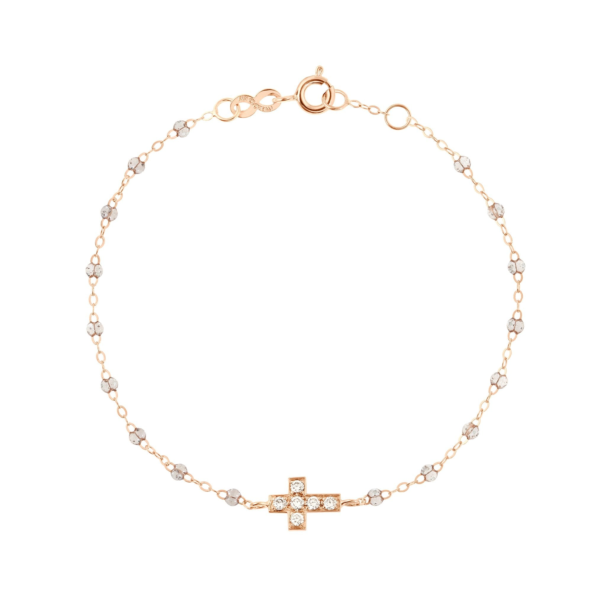 Gigi Clozeau - Cross Charm Classic Gigi Sparkle diamonds bracelet, Rose Gold, 6.7