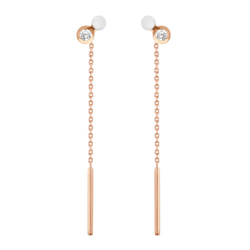 Gigi Clozeau - Dot diamonds White resin earrings, Rose Gold
