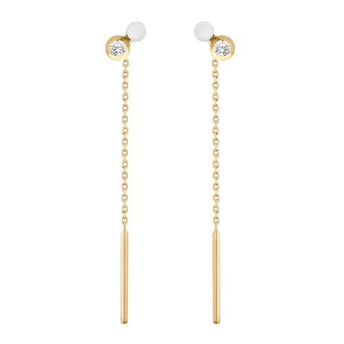 Gigi Clozeau - Dot diamonds White resin earrings, Yellow Gold