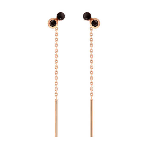 Gigi Clozeau - Dot spinel Black resin earrings, Rose Gold