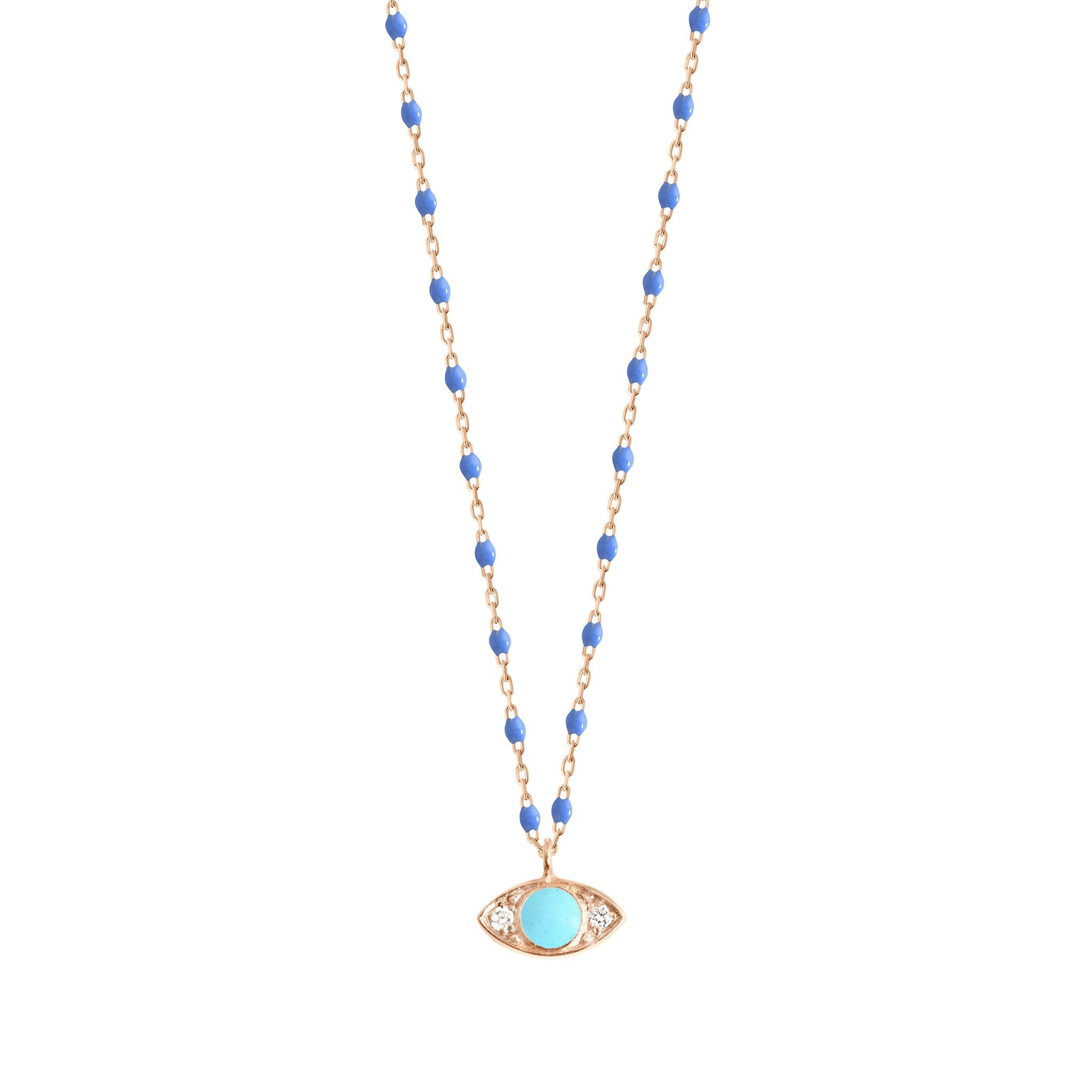 Gigi Clozeau - Eye Mini Gigi Bleuet diamond necklace, Rose Gold, 16.5""