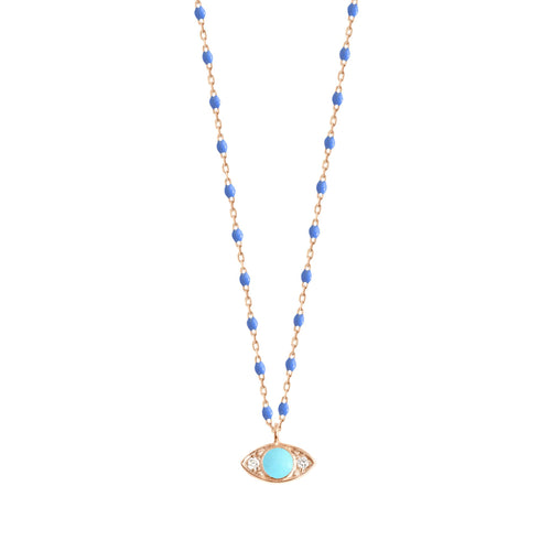 Gigi Clozeau - Eye Mini Gigi Bleuet diamond necklace, Rose Gold, 16.5