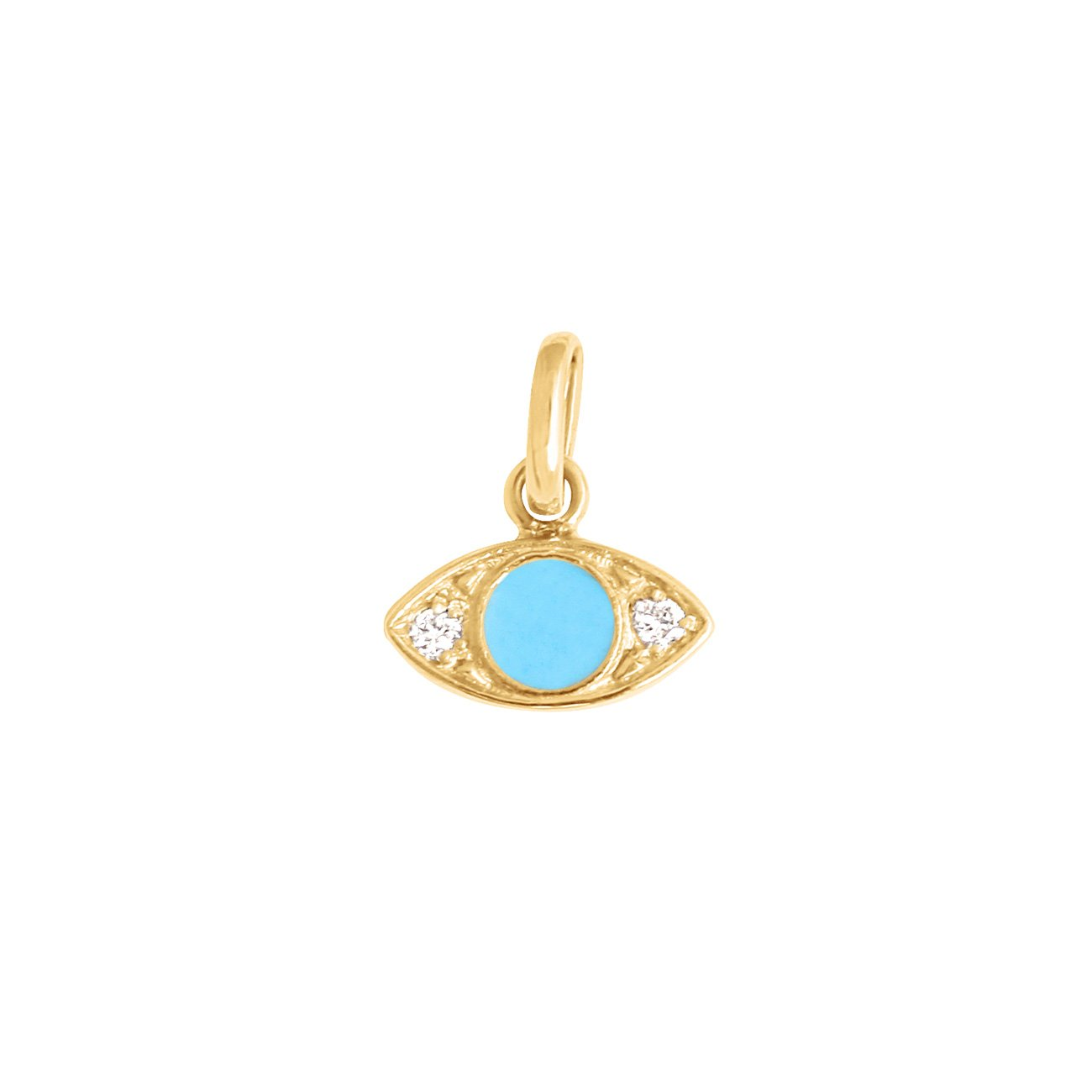 Gigi Clozeau - Eye Turquoise Resin diamonds pendant, Yellow Gold