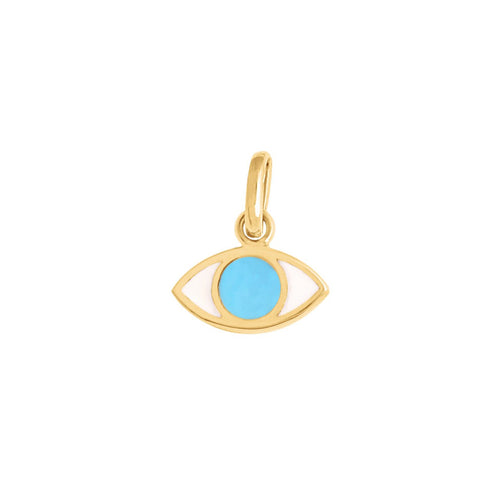 Gigi Clozeau - Eye Turquoise Resin pendant, Yellow Gold