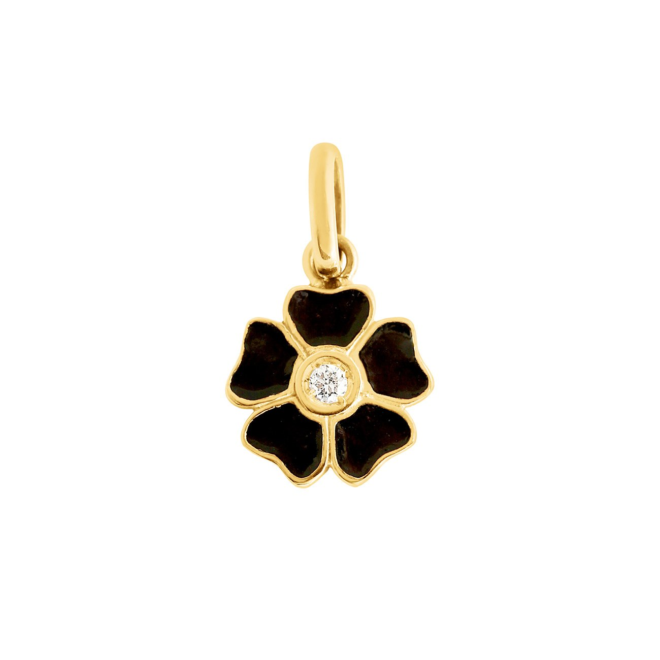 Gigi Clozeau - Flower Black diamond pendant, Yellow Gold
