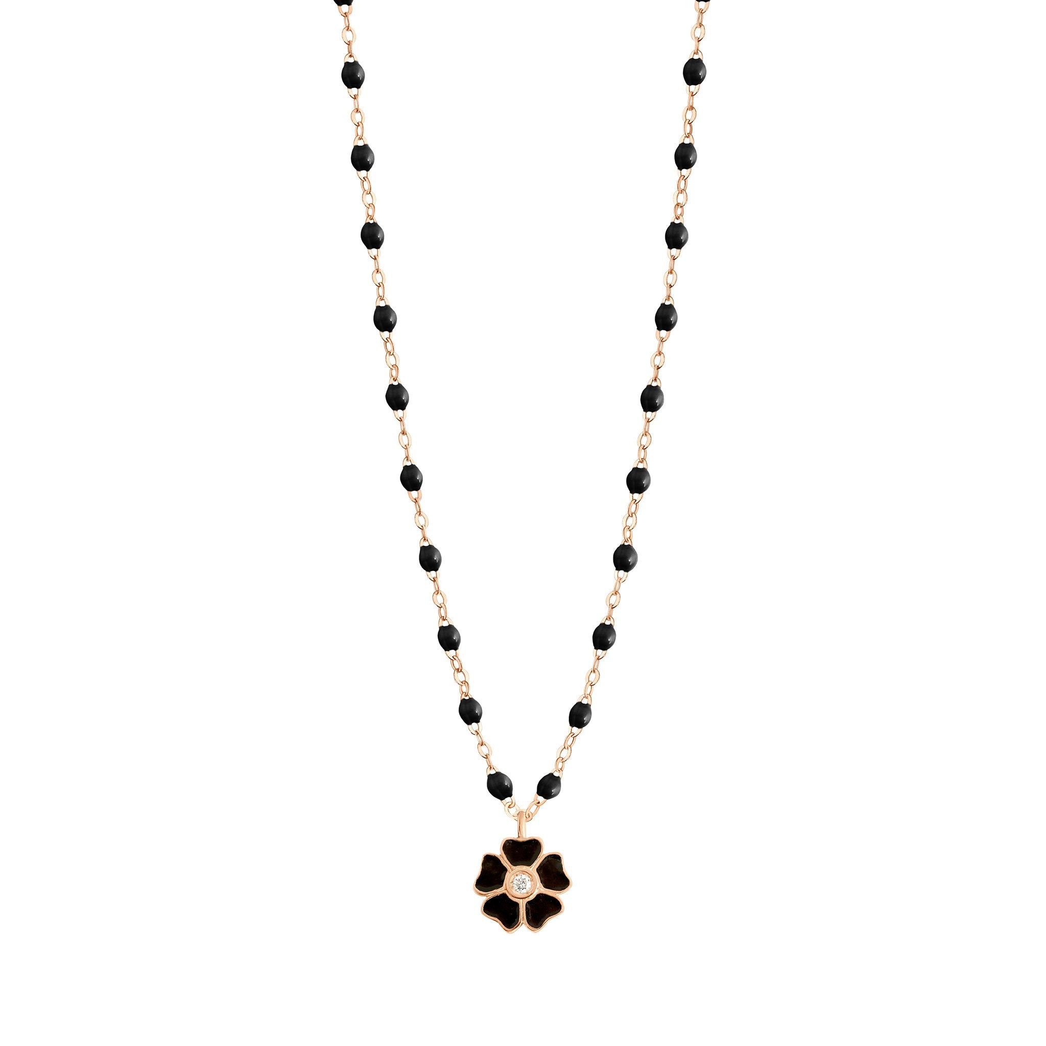 Gigi Clozeau - Flower Classic Gigi Black diamond necklace, Rose Gold, 16.5""