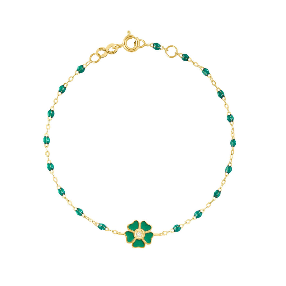 Gigi Clozeau - Flower Classic Gigi Emerald Diamond Bracelet, Yellow Gold, 6.7