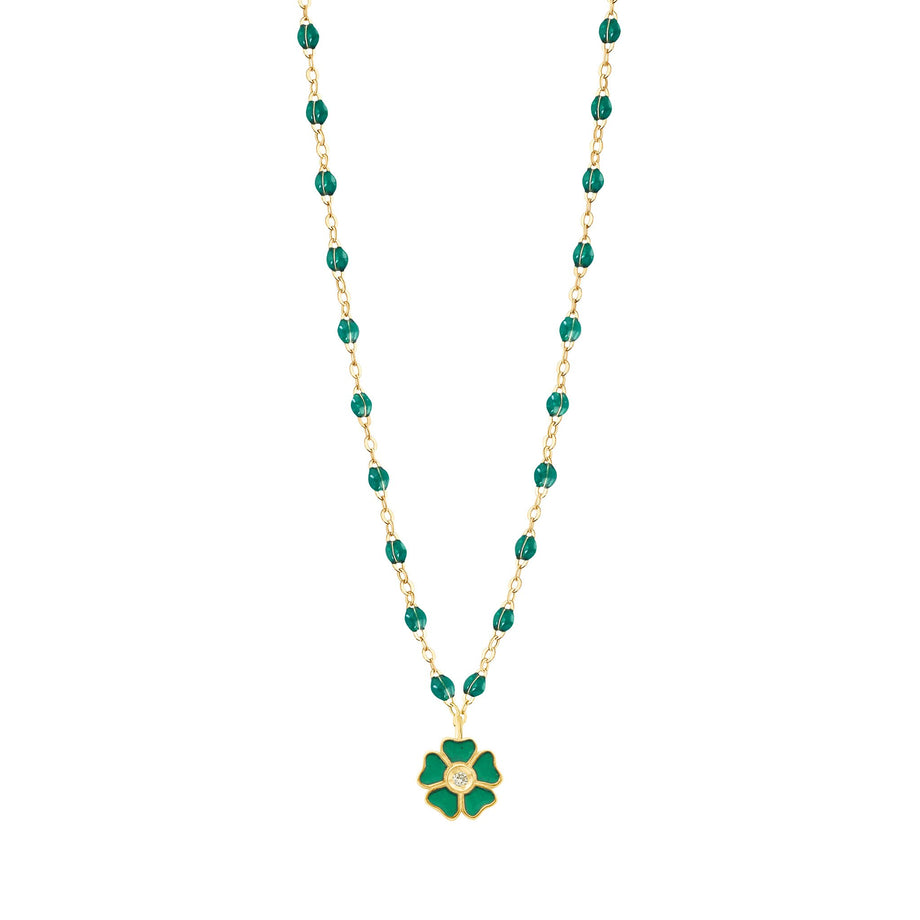 Gigi Clozeau - Flower Classic Gigi Emerald Diamond Necklace, Yellow Gold, 16.5