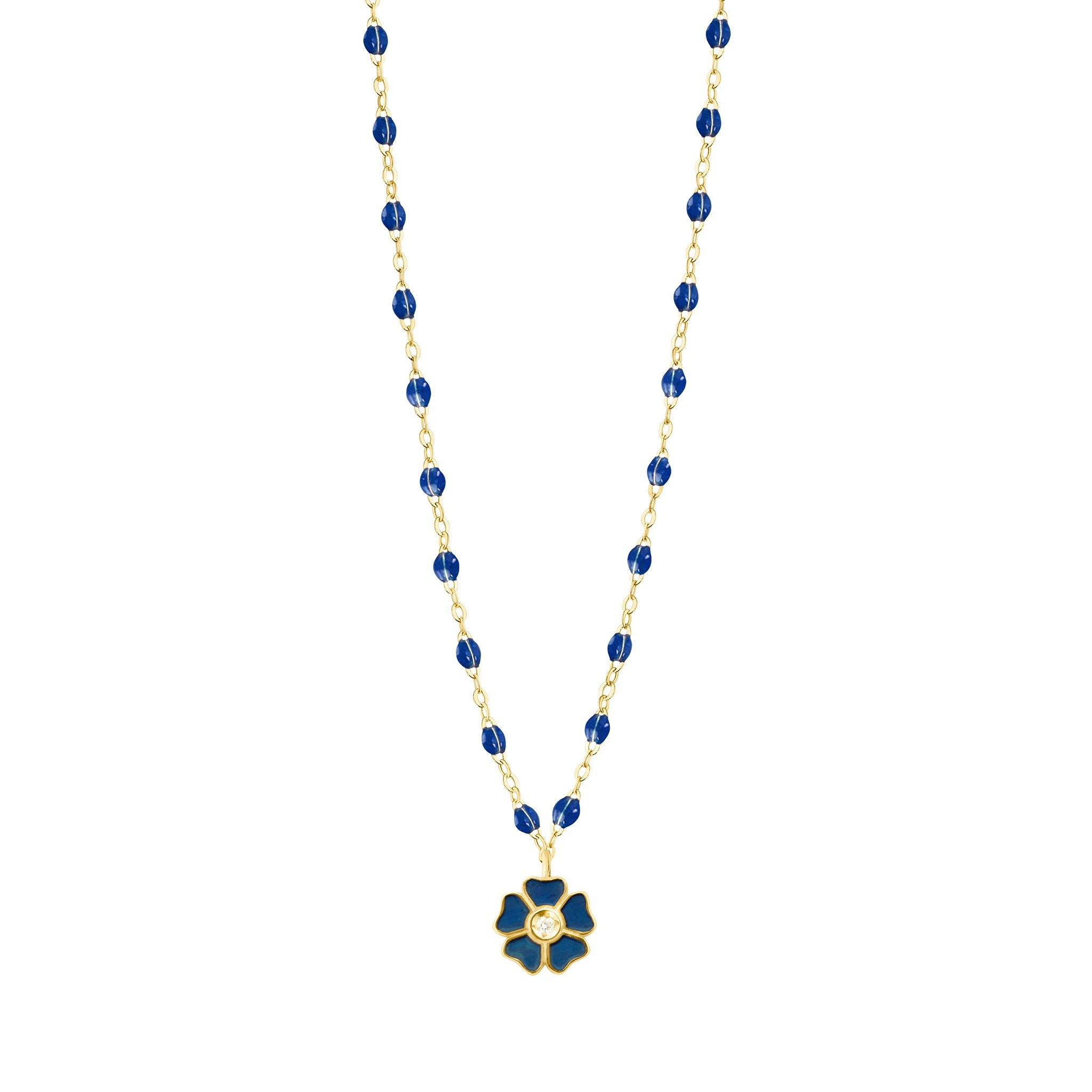 Gigi Clozeau - Flower Classic Gigi Lapis Diamond Necklace, Yellow Gold, 16.5""
