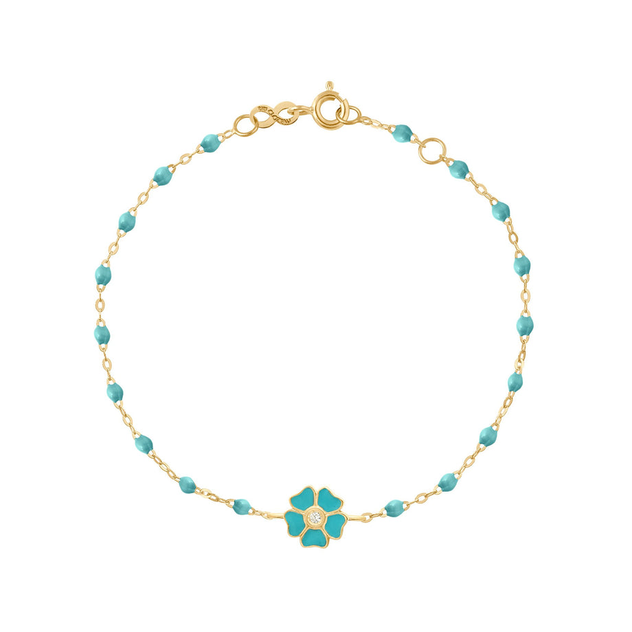 Gigi Clozeau - Flower Classic Gigi Turquoise Green diamond bracelet, Yellow Gold, 6.7